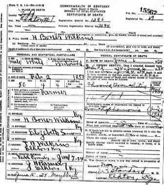 "Documents: Hue Boner ""Boner"" Wilkins Death Certificate, 1934 ..."